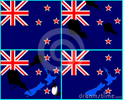 New Zealand flag, map, kiwi bird