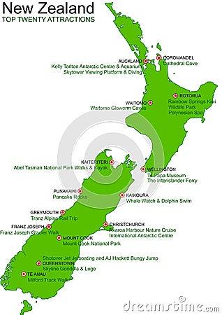 New Zealand Green Vector Map - Top 20 Attractions