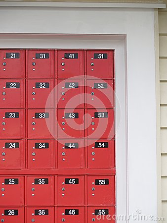 New Zealand Red Post office boxes.
