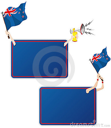 New Zealand Sport Message Frame with Flag.