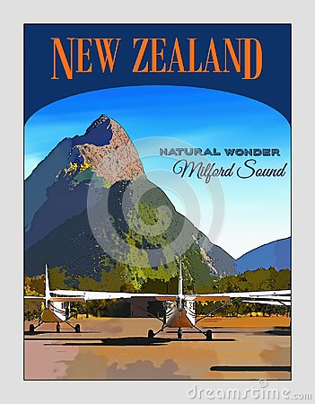 New Zealand, Travel Poster, Fiordland, Milford Sound