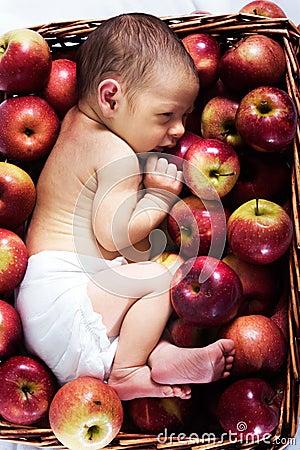 Newborn in apples