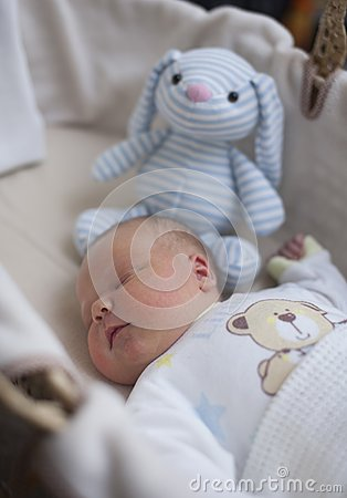 Newborn baby boy asleep with cuddly toy