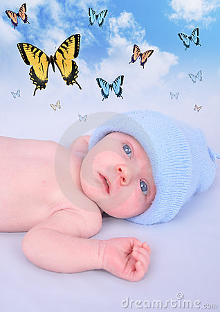 Newborn Baby Boy Butterfly Dream