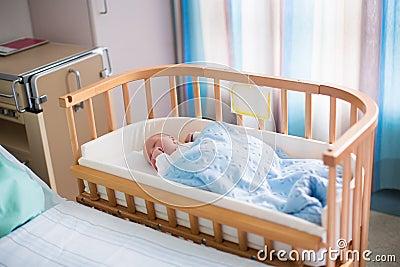Newborn Baby Boy In Hospital Cot Stock Photo Image 57824769