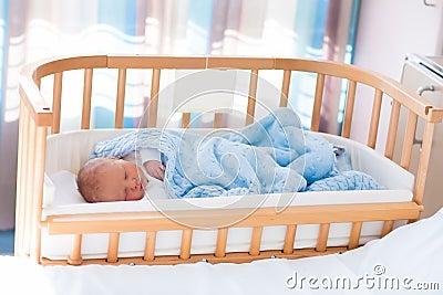 Newborn Baby Boy In Hospital Cot Stock Photo Image 71090361