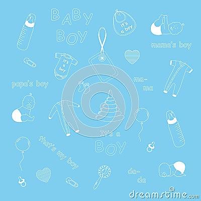Free Newborn Baby Boy Pattern Royalty Free Stock Image - 29935696