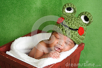 Newborn Baby Boy Wearing Frog Hat