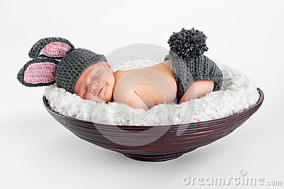 Newborn Baby in Bunny Outfit