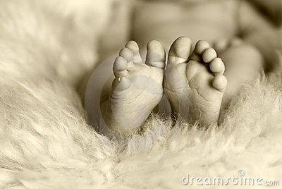 Newborn baby feet and toes