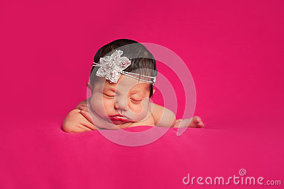 Newborn Baby Girl with Rhinestone Headband