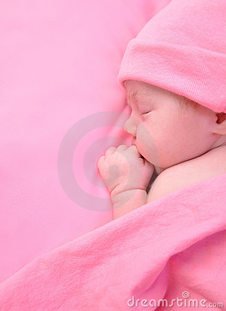 Newborn Baby Girl Sleeping with Blanket
