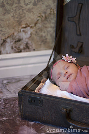 Newborn baby girl in suitcase
