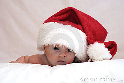 Newborn baby in the hat of the St Nicolas