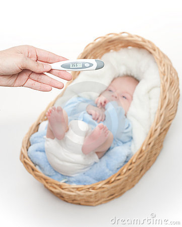 Free Newborn Baby  In Basket With Temperature Meter Stock Image - 17742141