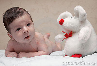 Newborn Baby and Mouse