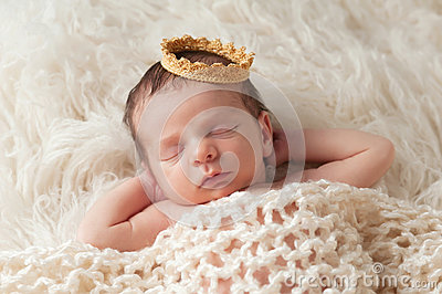 Newborn Baby with Prince s Crown