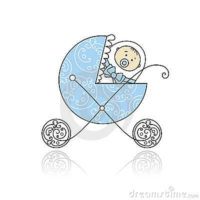 Newborn in baby s buggy for your design