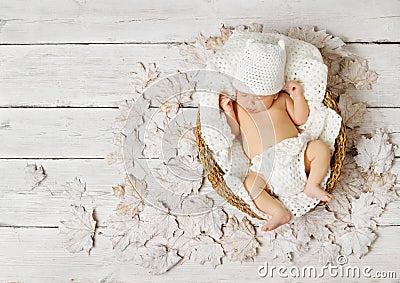 Newborn baby sleeping in basket on leaves over white