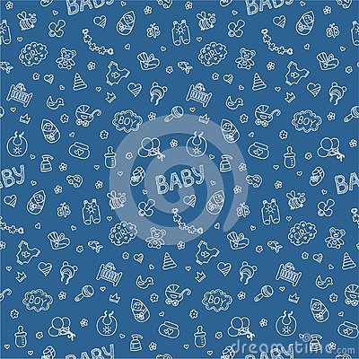 Free Newborn. Colorful Vector Seamless Pattern In Doodle And Cartoon Style On The Baby Theme. Blue. Stock Image - 113063921