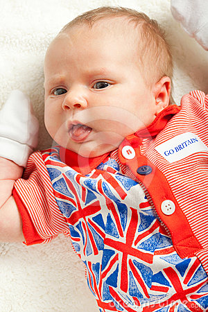 Newborn girl wearing British symbol clothes