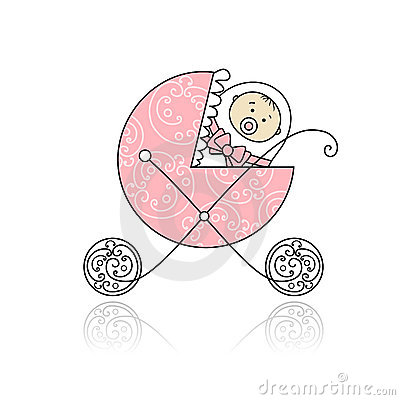Free Newborn In Baby S Buggy For Your Design Stock Image - 18011141
