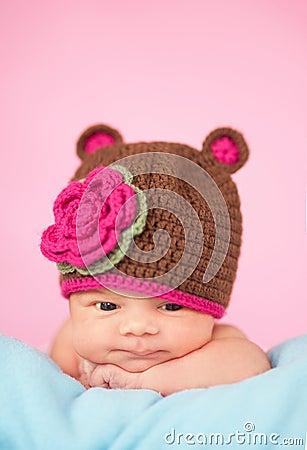 Newborn in knitted hat