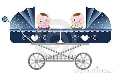 Newborn Twins Carriage Isolated
