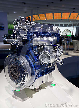 Newest auto motor on auto show stand