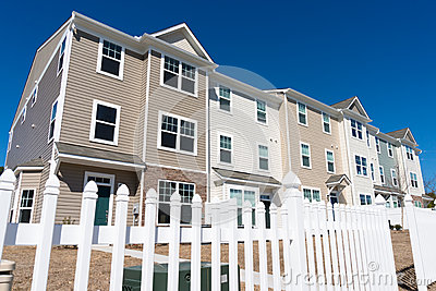 Newly build townhouses with vinyl siding