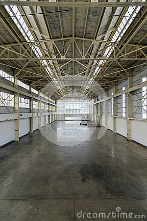 Newly constructed empty warehouse/factory from above