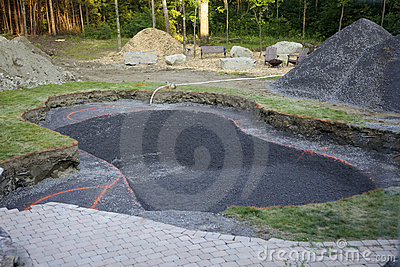 A newly dug in-ground pool