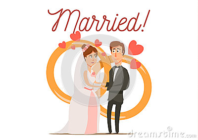 Newly Married Couple Composition Vector Illustration
