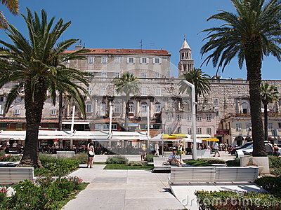 Newly renovated seafront walkway in Split, Croatia Editorial Stock Image