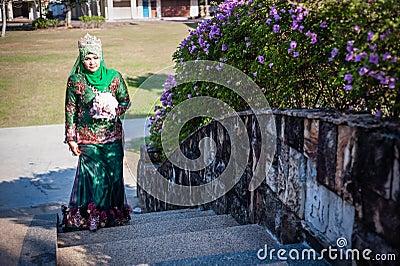 Newly wedded bride posing