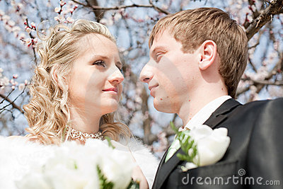 Newly wedded couple on open air