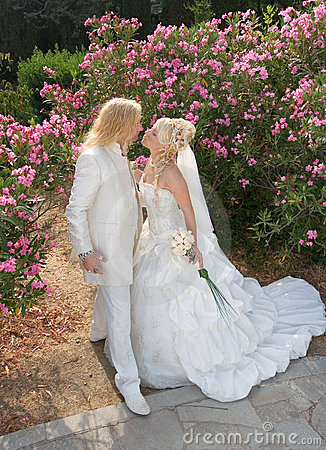 Newly wedded couple in the park