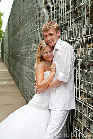Newly wedding couple portrait