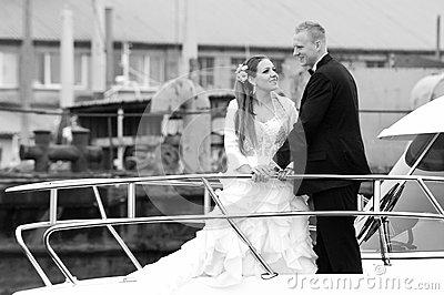 Newlywed couple on boat