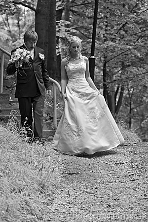 Newlywed couple in forest