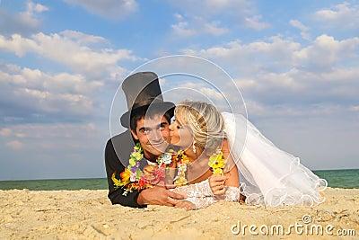 Newlywed couple in Hawaiian Hula