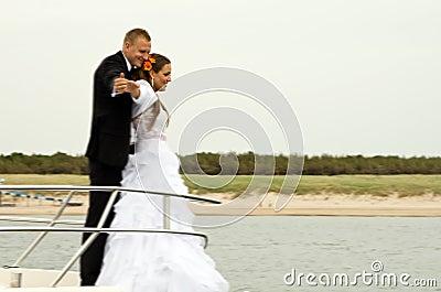 Newlyweds on boat