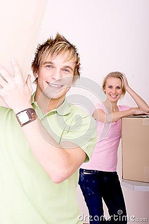 Newlyweds moving house