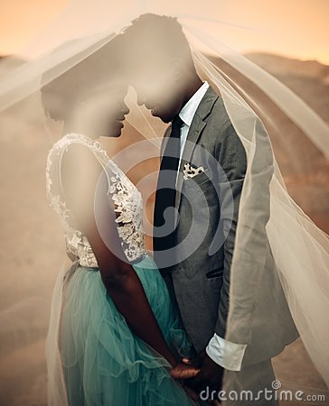 Free Newlyweds Stand Under Bridal Veil And Hold Hands In Canyon At Sunset. Royalty Free Stock Photo - 119436855