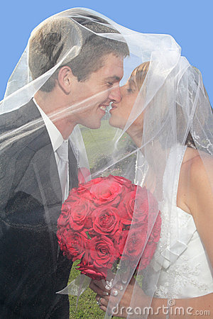 Newlyweds under veil