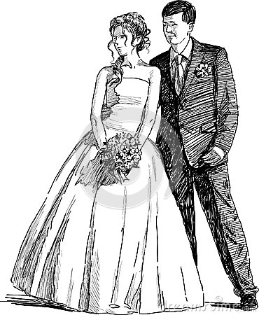 Free wedding dress sketches - Vintage Bride And Groom Drawing Drawing Newlyweds Stock Illustrations