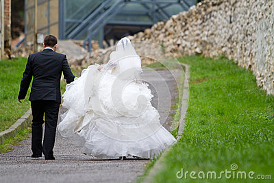 Newlyweds walking