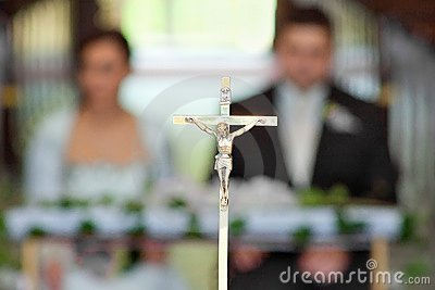 Newlyweds at the wedding ceremony in church