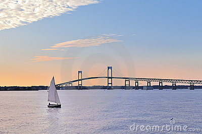 Newport Bridge Sailboat at Twilight Rhode Island