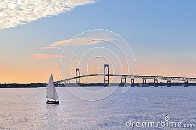 Newport Bridge Sailboat at Twilight Rhode Island